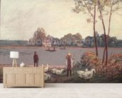 On the Banks of the Loing (pastel on paper) wall mural living room preview