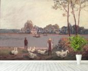 On the Banks of the Loing (pastel on paper) wall mural in-room view