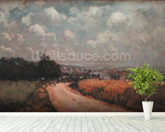 Turning Road or, View of the Seine, 1875 (oil on canvas) wallpaper mural room setting