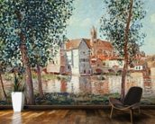 The Loing at Moret, September Morning (oil on canvas) mural wallpaper kitchen preview