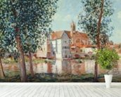 The Loing at Moret, September Morning (oil on canvas) mural wallpaper in-room view