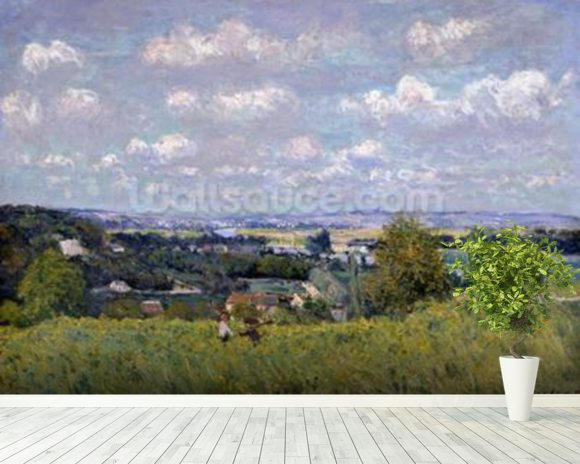 The Valley of the Seine at Saint-Cloud, 1875 (oil on canvas) wall mural room setting