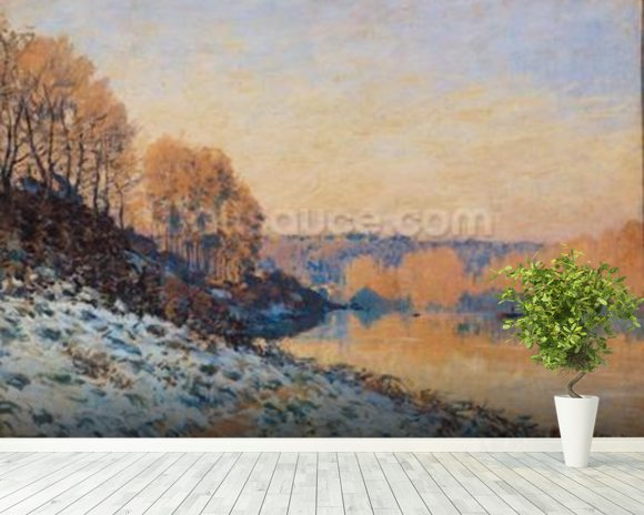 Port-Marly, White Frost, 1872 (oil on canvas) wall mural room setting