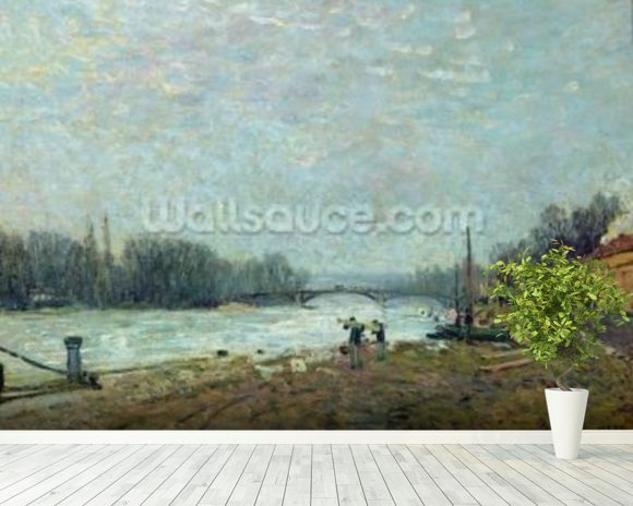 After the Thaw, the Seine at Suresnes Bridge, 1880 (oil on canvas) wallpaper mural room setting