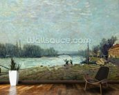 After the Thaw, the Seine at Suresnes Bridge, 1880 (oil on canvas) wallpaper mural kitchen preview