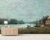 After the Thaw, the Seine at Suresnes Bridge, 1880 (oil on canvas) wallpaper mural living room preview