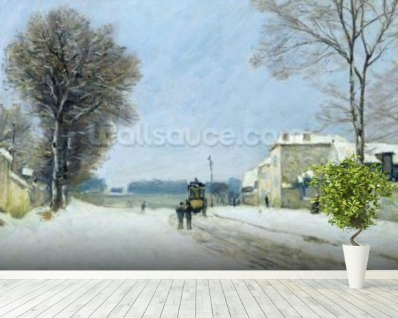 Winter, Snow Effect, 1876 (oil on canvas) mural wallpaper room setting