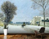 Winter, Snow Effect, 1876 (oil on canvas) mural wallpaper kitchen preview