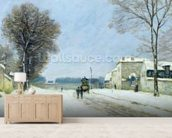 Winter, Snow Effect, 1876 (oil on canvas) mural wallpaper living room preview