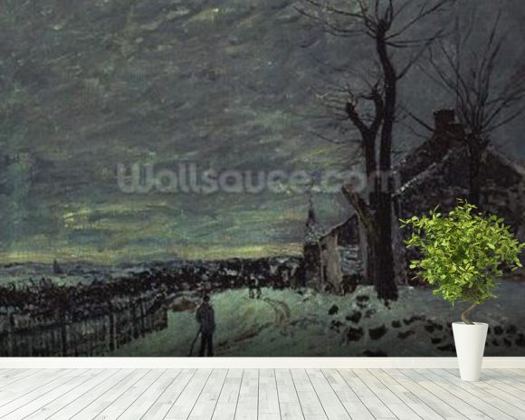 Snow at Veneux-Nadon, c.1880 (oil on canvas) wall mural room setting