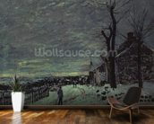 Snow at Veneux-Nadon, c.1880 (oil on canvas) wall mural kitchen preview