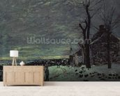 Snow at Veneux-Nadon, c.1880 (oil on canvas) wall mural living room preview