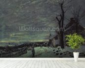 Snow at Veneux-Nadon, c.1880 (oil on canvas) wall mural in-room view