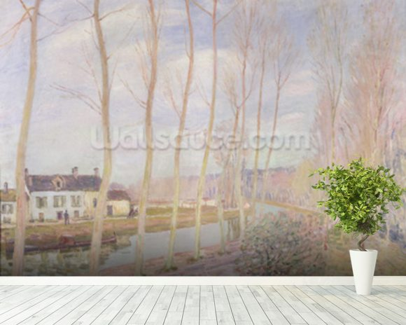 The Loing Canal, 1892 (oil on canvas) mural wallpaper room setting