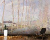 The Loing Canal, 1892 (oil on canvas) mural wallpaper kitchen preview