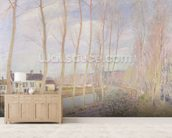 The Loing Canal, 1892 (oil on canvas) mural wallpaper living room preview