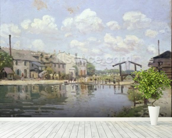 The Canal Saint-Martin, Paris, 1872 (oil on canvas) wall mural room setting