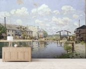 The Canal Saint-Martin, Paris, 1872 (oil on canvas) wall mural living room preview
