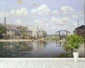 The Canal Saint-Martin, Paris, 1872 (oil on canvas) wall mural in-room view