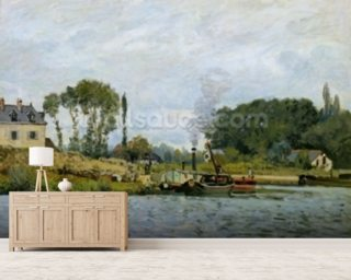 Boats at the lock at Bougival, 1873 (oil on canvas) wallpaper mural