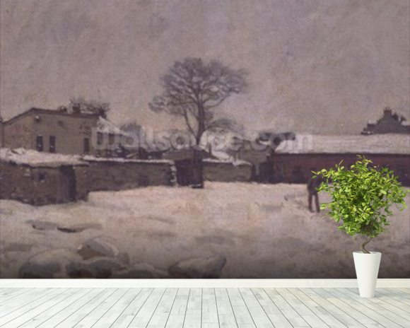 Under Snow: the farmyard at Marly-le-Roi, 1876 (oil on canvas) wall mural room setting