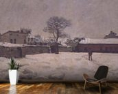 Under Snow: the farmyard at Marly-le-Roi, 1876 (oil on canvas) wall mural kitchen preview
