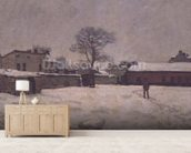 Under Snow: the farmyard at Marly-le-Roi, 1876 (oil on canvas) wall mural living room preview