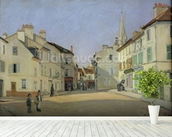 Rue de la Chaussee at Argenteuil, 1872 (oil on canvas) mural wallpaper room setting