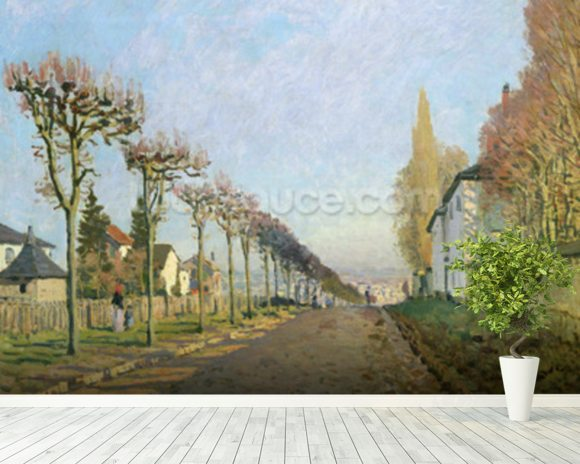 Rue de la Machine, Louveciennes, 1873 (oil on canvas) wallpaper mural room setting
