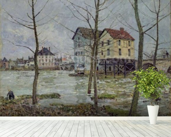 The Mills at Moret-sur-Loing, Winter, 1890 wall mural room setting