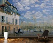 The Boat in the Flood, Port-Marly, 1876 (oil on canvas) wallpaper mural kitchen preview