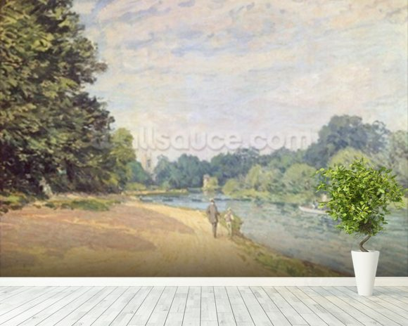 The Thames with Hampton Church, 1874 mural wallpaper room setting