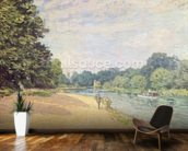 The Thames with Hampton Church, 1874 mural wallpaper kitchen preview