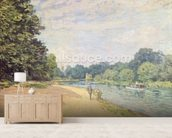The Thames with Hampton Church, 1874 mural wallpaper living room preview
