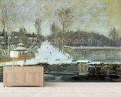 The Watering Place at Marly-le-Roi, 1875 (oil on canvas) wallpaper mural living room preview