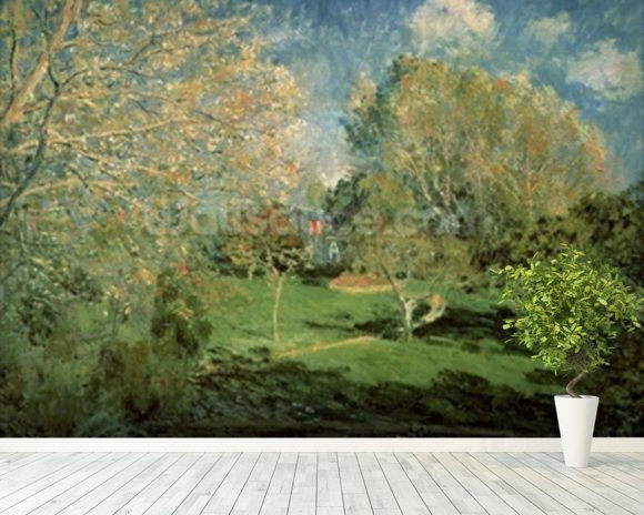 The Garden of Hoschede Family, 1881 (oil on canvas) wall mural room setting