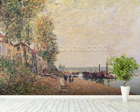 Steam Boats on the Loing at Saint-Mammes, 1877 wallpaper mural room setting