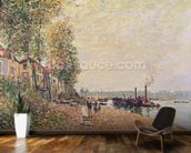 Steam Boats on the Loing at Saint-Mammes, 1877 wallpaper mural kitchen preview