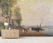 Steam Boats on the Loing at Saint-Mammes, 1877 wallpaper mural living room preview