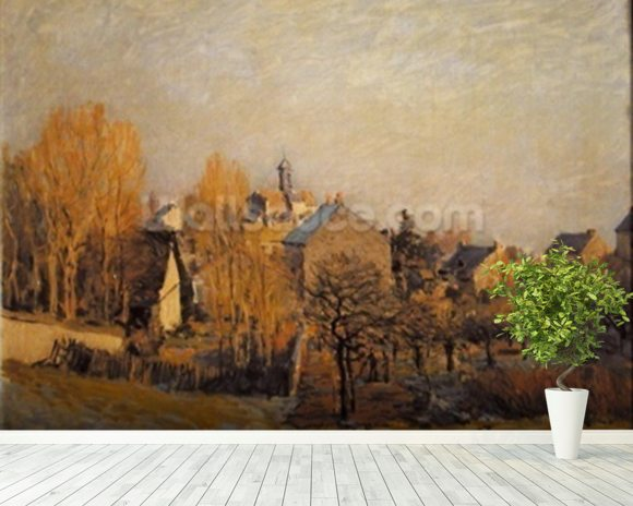 Frosty Morning in Louveciennes, 1873 mural wallpaper room setting