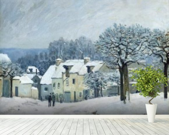 The Place du Chenil at Marly-le-Roi, Snow, 1876 (oil on canvas) mural wallpaper room setting