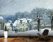 The Place du Chenil at Marly-le-Roi, Snow, 1876 (oil on canvas) mural wallpaper kitchen preview