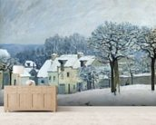 The Place du Chenil at Marly-le-Roi, Snow, 1876 (oil on canvas) mural wallpaper living room preview