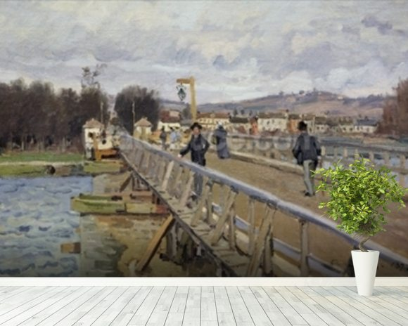 Footbridge at Argenteuil, 1872 (oil on canvas) wall mural room setting