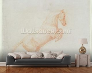 A Prancing Horse, facing right, 1790 (red chalk on paper) wallpaper mural