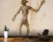 Monkey Standing, Anterior View (pen & ink over graphite on paper) mural wallpaper kitchen preview