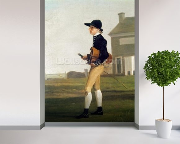 Portrait of a Young Jockey (oil on canvas) mural wallpaper room setting