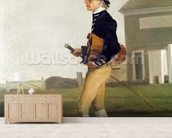 Portrait of a Young Jockey (oil on canvas) mural wallpaper living room preview