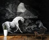 A Horse startled by a Lioness, engraved by Benjamin Green, 1774 (engraving) wallpaper mural kitchen preview