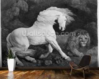 A Horse Affrighted by a Lion Mural Wallpaper Wall Murals Wallpaper
